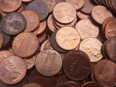 Large Group of Pennies representing money saved through frugality.